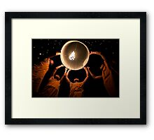 Young Monks releasing a lantern - Thailand Framed Print