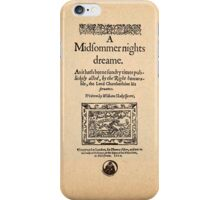 Shakespeare's A Midsummer Night's Dream Front Piece iPhone Case/Skin
