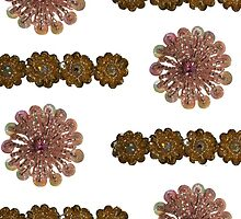 Pink and Gold Bead and Sequin Flowers (I)- Vintage Bling by MHen