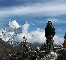 Gazing down at the trek home from Everest by Sarah Jones