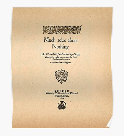 Shakespeare's Much Ado About Nothing Front Piece Poster