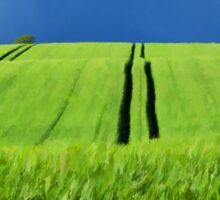 Green grass field with dramatic beautiful sky background Sticker