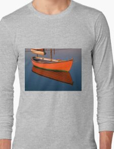 Small dinghy dory floating in the water Long Sleeve T-Shirt