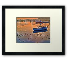 Reflection of a small dinghy dory boat Framed Print