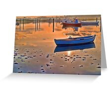 Reflection of a small dinghy dory boat Greeting Card