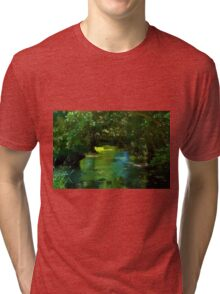 Small beautiful brook stream in a forest Tri-blend T-Shirt