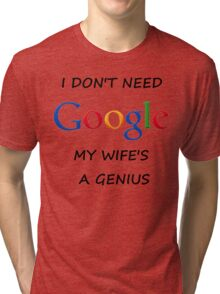 I DON'T NEED GOOGLE MY WIFE t-shirt Tri-blend T-Shirt