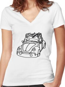 THE LOVE BUG ON LITE Women's Fitted V-Neck T-Shirt