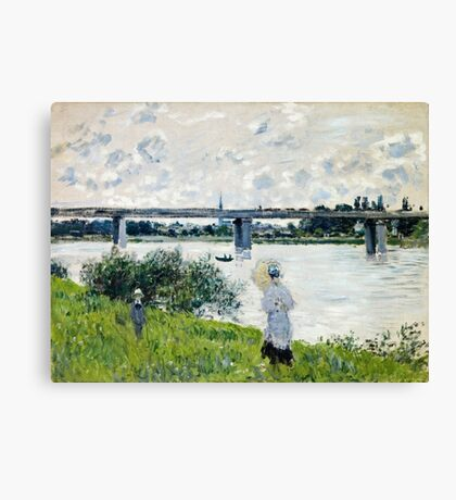 Claude Monet - The Promenade With The Railroad Bridge, Argenteuil 1874 Canvas Print