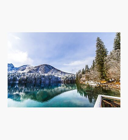first snow at the mountain lake Photographic Print