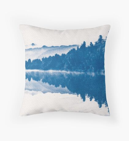 Lake Matheson Blueprint. Throw Pillow