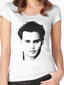 johnny depp t-shirt Women's Fitted Scoop T-Shirt