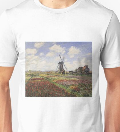 Claude Monet - Tulip Fields With The Rijnsburg Windmill Unisex T-Shirt