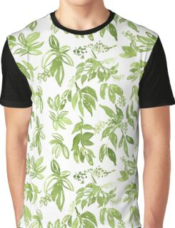 Tropical Green Leaf Pattern Graphic T-Shirt