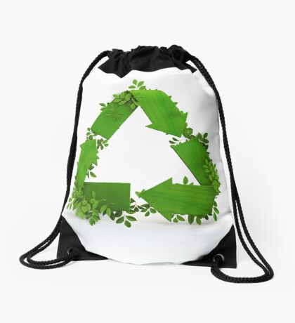 recycling symbol and leaves Drawstring Bag