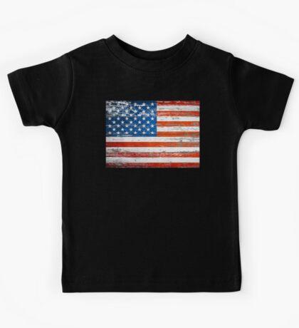 Primitive Barn Wood Grain grunge USA American Flag  Kids Tee