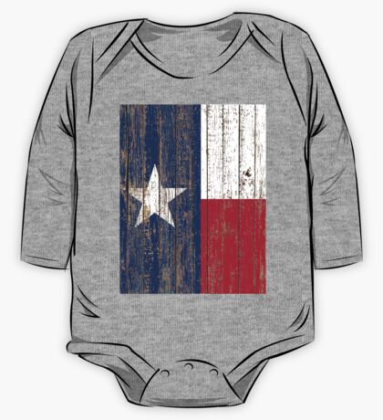 Primitive Woodgrain Western Country  Lone Star Flag Of Texas One Piece - Long Sleeve