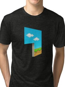 Glitch Homes Wallpaper eightbit left divide Tri-blend T-Shirt
