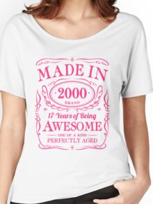 17th Birthday Gift Made In 2000 Awesome Pink Women's Relaxed Fit T-Shirt