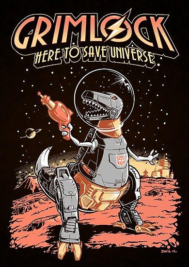 Space Pulp Robot Dinosaur Hero (Print Version) by Nathan Davis