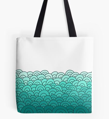 sea waves doodle border Tote Bag