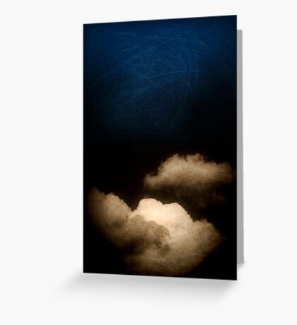 Clouds in a scratched darkness Greeting Card