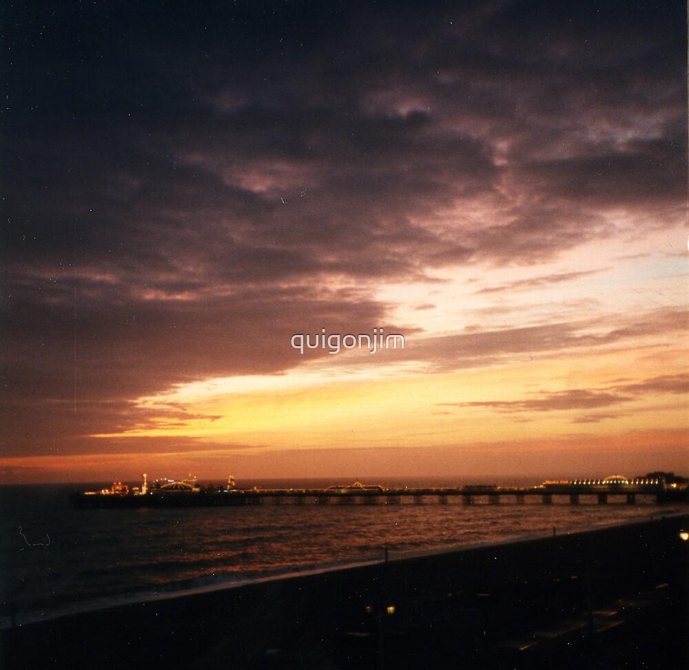 Sunset Over Brighton Pier At Night by quigonjim