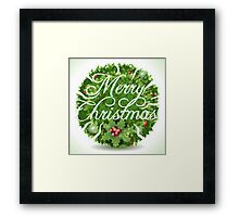 Holly Leaves Circle and Merry Christmas Calligraphic Text Framed Print