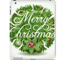 Holly Leaves Circle and Merry Christmas Calligraphic Text iPad Case/Skin