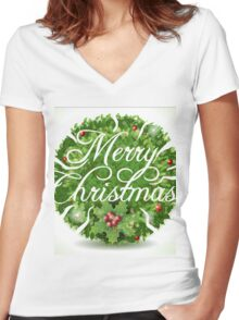 Holly Leaves Circle and Merry Christmas Calligraphic Text Women's Fitted V-Neck T-Shirt
