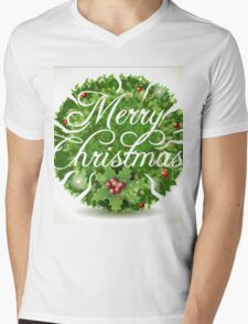 Holly Leaves Circle and Merry Christmas Calligraphic Text Mens V-Neck T-Shirt