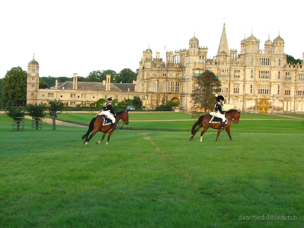napoleons soldiers riding in front of Burghley House by daantjedubbledutch