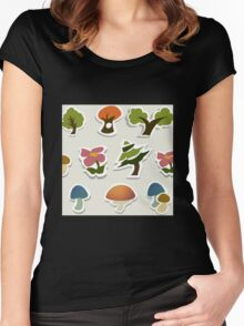 Glitch Homes Wallpaper forest papercut swatch Women's Fitted Scoop T-Shirt
