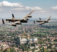 Two Lancasters over Lincoln by Gary Eason + Flight Artworks