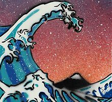 Great Wave at Night Stencil Art by Sam Simpson-Crew
