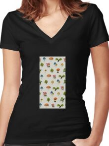 Glitch Homes Wallpaper forest papercut wall Women's Fitted V-Neck T-Shirt