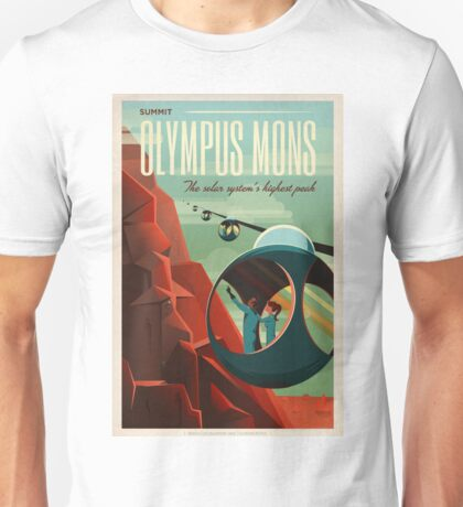 Art Deco Travel Poster - Olympus Mons (SpaceX) Unisex T-Shirt
