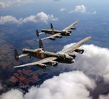Two Lancasters on tour by Gary Eason + Flight Artworks
