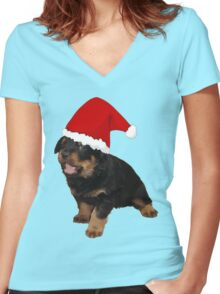 Cute Merry Christmas Puppy In Santa Hat Women's Fitted V-Neck T-Shirt