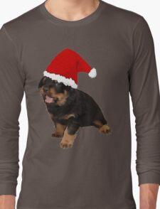 Cute Merry Christmas Puppy In Santa Hat Long Sleeve T-Shirt