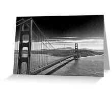 Golden Gate Bridge - Dark Sky (black and white) Greeting Card