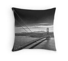 Golden Gate Bridge - Dark Sky (black and white) Throw Pillow