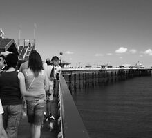 On the Pier - B&W by Kate Eling