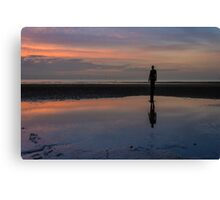 Iron man reflection at Crosby Beach Canvas Print