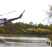 Bushfire Helicopter at Glenbrook Lagoon Sticker