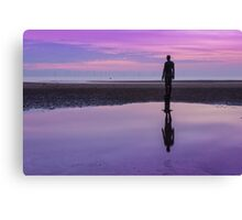 Pink and purple sunset at Crosby Beach Canvas Print