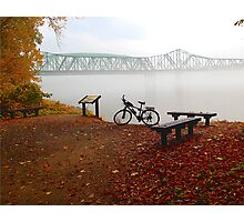 Foggy Morning Missouri River Railroad Bridge Bike Photographic Print