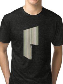 Glitch Homes Wallpaper green stripes right divide Tri-blend T-Shirt
