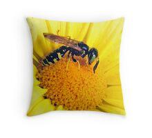 yellow jacket on flower Throw Pillow