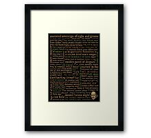 Shakespeare Insults T-shirt - Revised Edition (by incognita) Framed Print